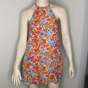 American Eagle Braided Halter Floral Mini Sundress
